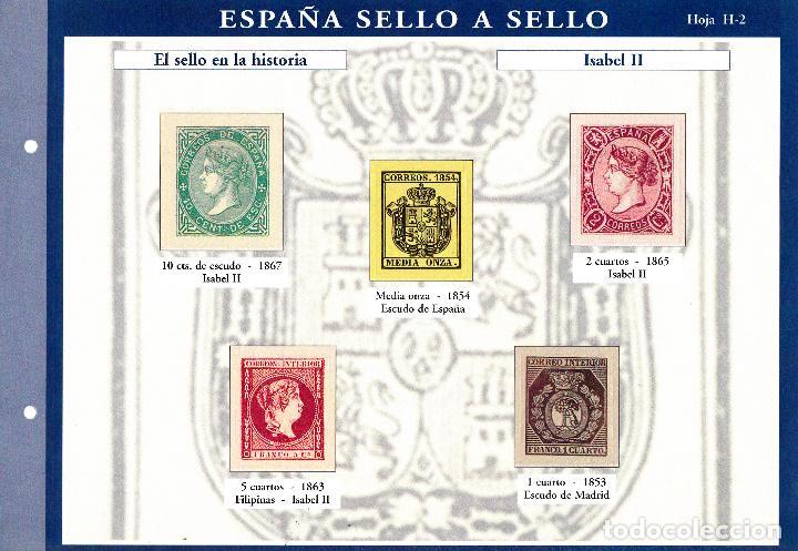 ESPAÑA SELLO A SELLOS. HOJA H-2. EL SELLO EN LA HISTORIA. ISABEL II. (Filatelia - Sellos - Reproducciones)