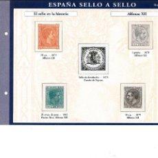 Sellos: ESPAÑA SELLO A SELLOS. HOJA H-5. EL SELLO EN LA HISTORIA. ALFONSO XII.. Lote 82542604