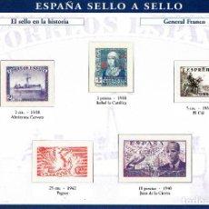 Sellos: ESPAÑA SELLO A SELLOS. HOJA H-12. EL SELLO EN LA HISTORIA. GENERAL FRANCO.. Lote 82542984
