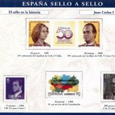 Sellos: ESPAÑA SELLO A SELLOS. HOJA H-15. EL SELLO EN LA HISTORIA. JUAN CARLOS I.. Lote 82543120