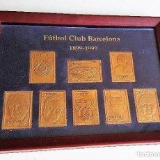 Sellos: CUADRO SELLOS METALICOS DORADOS FUTBOL CLUB BARCELONA 1899-1999 SPORT . Lote 102380991