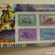 Sellos: HOJITA CON SELLOS DEDICADOS A CANADA EN GUERRA. COLECCION 2ª GUERRA MUNDIAL.. Lote 111920491