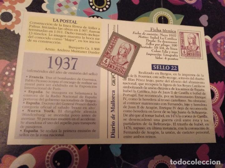 Sellos: POSTAL FACCIMIL FERROCARRIL PALMA SOLLER MALLORCA Y SELLO METALICO ISABEL LA CATOLICA 4 PTS - Foto 2 - 119298347