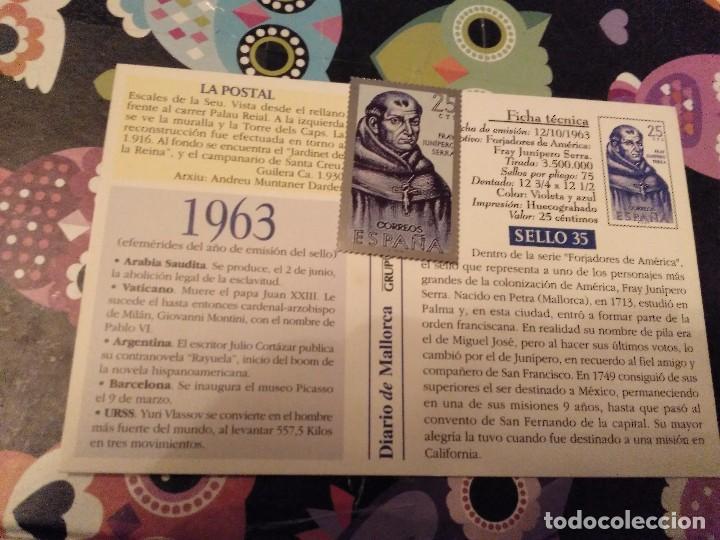 Sellos: POSTAL FACCIMIL CALLE DE LA SEU MALLORCA Y SELLO METALICO FRAY JUNIPERO SERRA 25 CENTIMOS - Foto 2 - 119300523