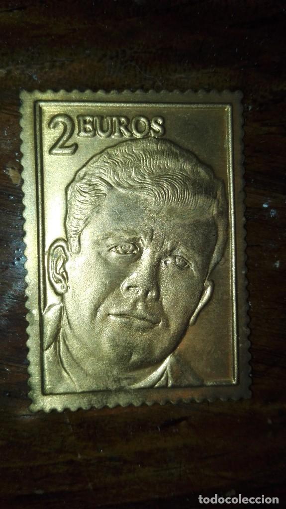 SELLO 2 EUROS LATON DORADO (Filatelia - Sellos - Reproducciones)