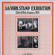 Sellos: REPRODUCCIÓN SOBRE CARTULINA   YORK STAMP EXHIBITION 1974   SIR WINSTON CHURCHILL. Lote 130634730