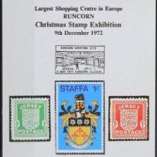 Sellos: REPRODUCCIÓN   CHISTMAS STAMP EXHIBITION CHESHIRE 1972   SELLOS DE JERSEY Y STAFFA. Lote 130635718
