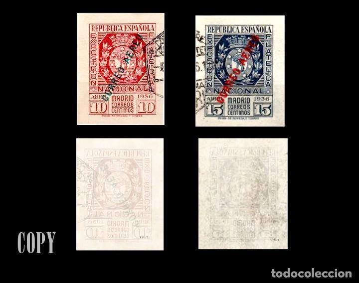 ESPAÑA 1936 EXPOSICION FILATELICA DE MADRID EDIF. 729-730 (Filatelia - Sellos - Reproducciones)