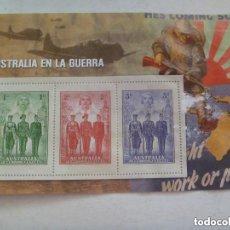 Sellos: HOJITA CON 3 SELLOS FACSIMIL DEDICADOS A AUSTRLIA EN GUERRA. COLECCION 2ª GUERRA MUNDIAL. Lote 155156174