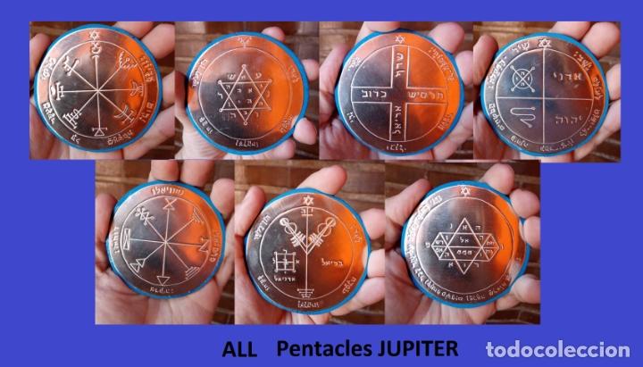 Sellos: TODOS LOS PENTÁCULOS JUPITER, talla en metal, 7 talismanes Júpiter, cada uno de 8,5 cm de tamaño--03 - Foto 2 - 172258634