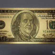 Sellos: BILLETE A COLOR EN ORO LAMINADO DE 100 $. Lote 183323871