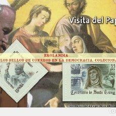 Timbres: 31 F12 HOJITA BLOQUE ~ EKL VISITA A ESPAÑA DEL PAPA JUAN PABLO II. DIARIO EL MUNDO. LA DEMOCRACIA EN. Lote 194607720