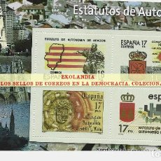 Timbres: 40 F12 HOJITA BLOQUE ~ EKL ESTATUTOS DE AUTONOMÍA ( IV ). DIARIO EL MUNDO. LA DEMOCRACIA EN SELLOS D. Lote 194607742