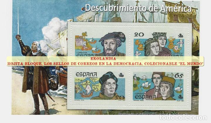 61 F12 HOJITA BLOQUE ~ EKL DESCUBRIMIENTO DE AMÉRICA . DIARIO EL MUNDO. LA DEMOCRACIA EN SELLOS DE C (Filatelia - Sellos - Reproducciones)
