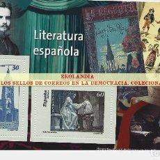 Timbres: 101 F12 HOJITA BLOQUE ~ EKL LITERATURA ESPAÑOLA ( II ) . DIARIO EL MUNDO. LA DEMOCRACIA EN SELLOS DE. Lote 194607816