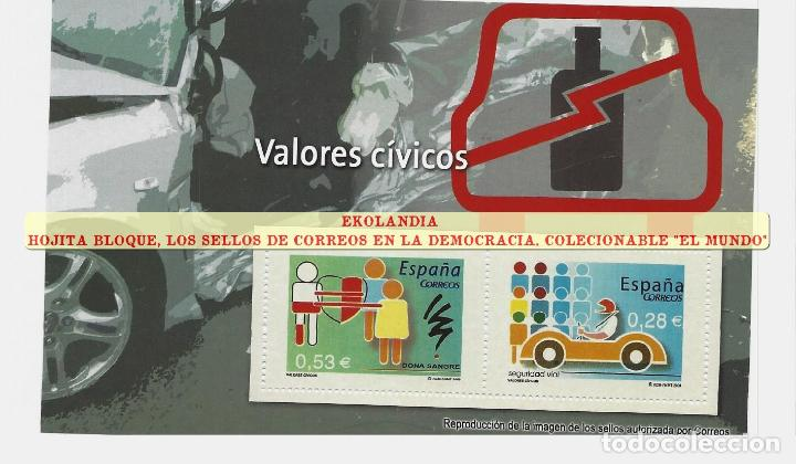 136 F12 HOJITA BLOQUE ~ EKL VALORES CÍVICOS (I). DIARIO EL MUNDO. LA DEMOCRACIA EN SELLOS DE CORREOS (Filatelia - Sellos - Reproducciones)