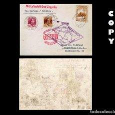 Sellos: ESPAÑA 1930. 10 PTS CASTAÑO. GRAF ZEPPELIN DE BARCELONA A MAGDEBURGO REPLICA . Lote 194968838