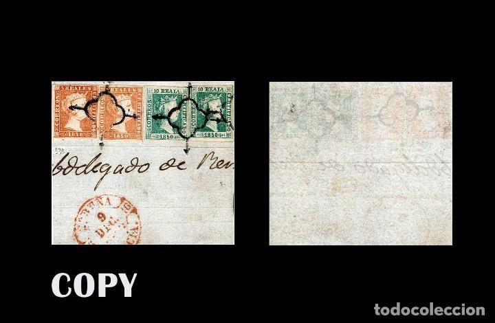 ESPAÑA 1850. 5 REALES Y 10 REALES , SOBRE FRAGMENTO MATASELLO ARAÑA NEGRA REPLICA (Filatelia - Sellos - Reproducciones)
