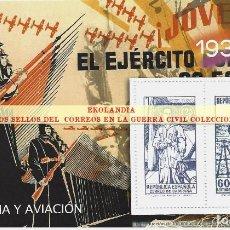 Sellos: 35 F11 HOJITA BLOQUE ~ EKL CORREO DE CAMPAÑA (NE) AVIACIÓN Y MARINA ~ EMISON : REPÚBLICA ~ EL MUNDO,. Lote 277651443