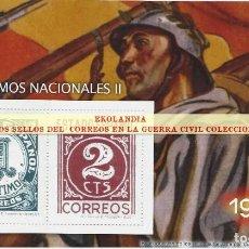 Selos: 8 F11 HOJITA BLOQUE ~ EKL CIFRAS (II) ~ EMISON : NACIONAL ~ EL MUNDO, LA GUERRA CIVIL EN SELLOS DE C. Lote 201973546