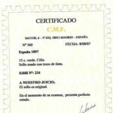 Timbres: EDIFIL 234 USADO 15C. VERDE ,CERTIFICADO REPRODUCION FOTOCOPIA FALSO. Lote 202538777