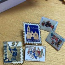Sellos: SELLOS PINS CONVENCIONES DE FILATELIA. 5 EN TOTAL. VER FOTO. Lote 203500071