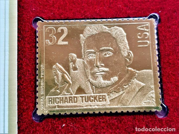 SELLO DE ORO 22.CTS OPERA SINGERS RICHARD TUCKER 1997 - 32 X 40.MM (Filatelia - Sellos - Reproducciones)