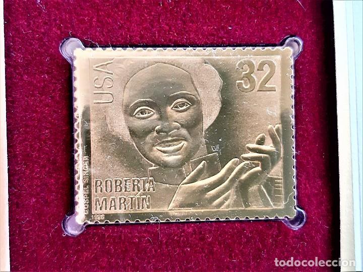 SELLO DE ORO MACIZO 22.KT. GOSPEL SINGERS ROBERTA MARTIN 1998 - 40 X 30.MM (Filatelia - Sellos - Reproducciones)
