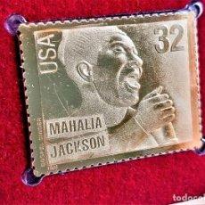 Timbres: SELLO DE ORO MACIZO 22.KT. GOSPEL SINGERS MAHALIA JACKSON 1998 - 30 X 40.MM. Lote 212898012