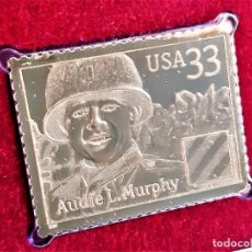 Francobolli: SELLO DE ORO MACIZO 22.KT. DISTINGUISHED SOLDIERS AUDIE L. MURPHY - 40 X 31.MM. Lote 213018105