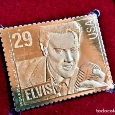 Timbres: SELLO DE ORO MACIZO 22.KT. ELVIS PRESLEY THE KING OF ROCK AND ROLL 1993 - 40 X 31.MM. Lote 213199142