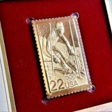 Timbres: SELLO DE ORO 22.KT. 1988 OLYMPICS WINTER GAMES 1988 - 25 X 40.MM. Lote 213331903