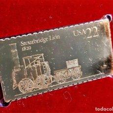 Sellos: SELLO DE ORO 22.KT. LOCOMOTIVES STOURBRIDGE LION 1987 - 45 X 22.MM. Lote 237355295