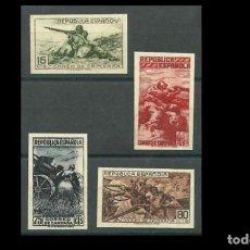 Francobolli: ESPAÑA-1939-II REPUBLICA- EDIFIL NE55A/NE55D -F- SERIE COMPLETA -(*)- NUEVOS + CPA.CERTIFICADO COMEX. Lote 215929596