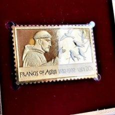 Timbres: SELLO DE ORO 22.KT. FRANCIS OF ASSISI 800TH ANNIVERSARY OF BIRTH 1982 - 40 X 25.MM. Lote 229446170