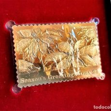 Sellos: SELLO DE ORO 22.KT. CHRISTMAS 1985 TRADITIONS OF CHRISTMAS 1985 - 40 X 25.MM. Lote 217918537