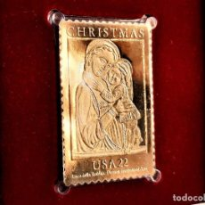 Sellos: SELLO DE ORO 22.KT. CHRISTMAS 1985 MADONNA AND CHILD 1985 - 40 X 25.MM. Lote 217918715