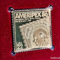 Sellos: SELLO DE ORO 22.KT. AMERIPEX 86 INTERNATIONAL STAMP SHOW 1985 - 32 X 31.MM. Lote 218144342