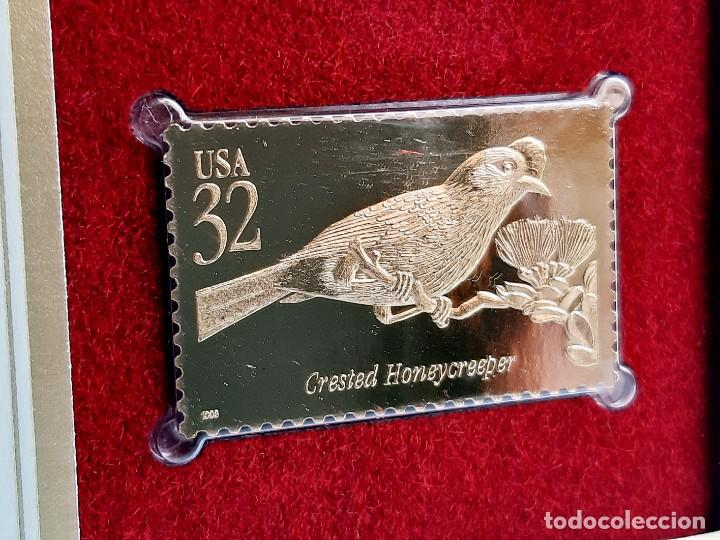 SELLO DE ORO 22.KT. TROPICAL BIRDS CRESTED HONEYCREEPER 1998 - 40 X 25.MM (Filatelia - Sellos - Reproducciones)