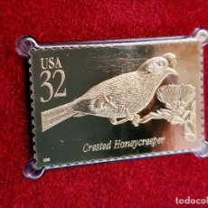 Sellos: SELLO DE ORO 22.KT. TROPICAL BIRDS CRESTED HONEYCREEPER 1998 - 40 X 25.MM. Lote 218211730