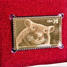 Sellos: SELLO DE ORO 22.KT. BRIGHT EYES HAMSTER 1998 - 40 X 25.MM. Lote 218287578