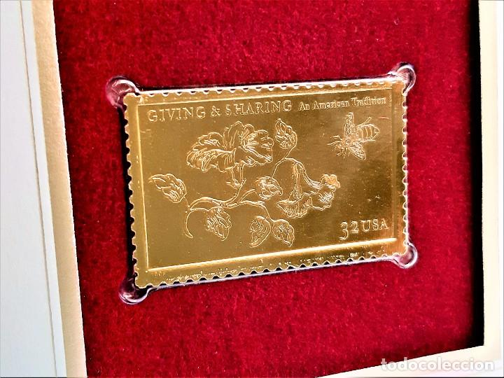 SELLO DE ORO 22.KT. GIVING AND SHARING AN AMERICAN TRADITION 1998 - 40 X 25.MM (Filatelia - Sellos - Reproducciones)