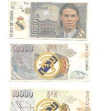 Timbres: 3 BILLETES DE EL REAL MADRID DE 10.000 PESETAS SUKER - REDONDO Y ROBERTO CARLOS. Lote 219112757