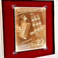 Selos: SELLO DE ORO 22.KT. STAMP COLLECTING HONORING AMERIPEX 86 1986 - 44 X 37.MM. Lote 220894250
