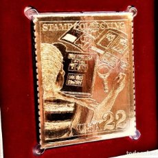 Sellos: SELLO DE ORO 22.KT. STAMP COLLECTING A HOBBY FOR LIFE 1986 - 45 X 37.MM. Lote 221001102