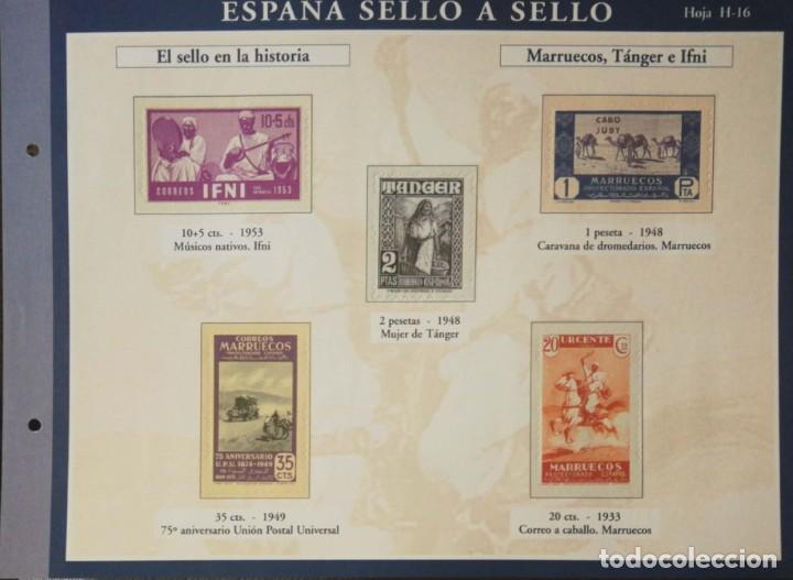 HOJA H-16 ESPAÑA SELLO A SELLO - COLECCION EL PAIS AÑO 2003 - HISTORIA MARRUECOS TANGER E IFNI (Filatelia - Sellos - Reproducciones)