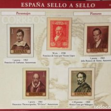 Sellos: HOJA P-10 ESPAÑA SELLO A SELLO - COLECCION EL PAIS AÑO 2003 - PERSONAJES PINTORES. Lote 221301198