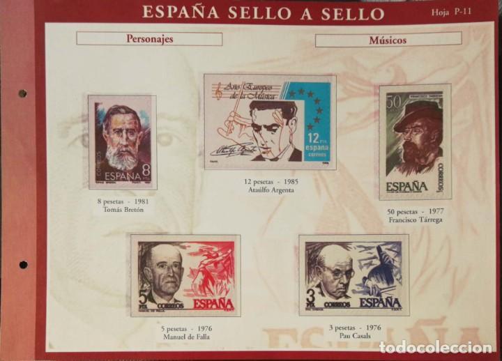 HOJA P-11 ESPAÑA SELLO A SELLO - COLECCION EL PAIS AÑO 2003 - PERSONAJES MUSICOS (Filatelia - Sellos - Reproducciones)