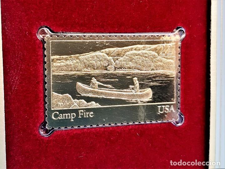 SELLO DE ORO 22.KT. YOUTH ORGANIZATIONS CAMP FIRE 1985 - 40 X 25.MM (Filatelia - Sellos - Reproducciones)
