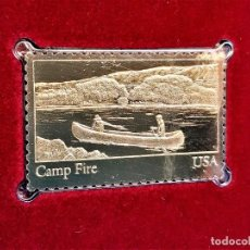 Sellos: SELLO DE ORO 22.KT. YOUTH ORGANIZATIONS CAMP FIRE 1985 - 40 X 25.MM. Lote 221373898